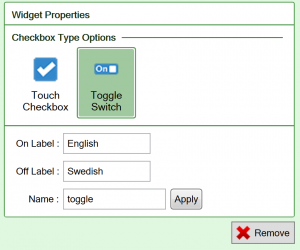 Screenshot of the Toggle switch checkbox widget