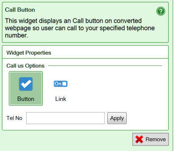 Screenshot of the settings for the Call button widget