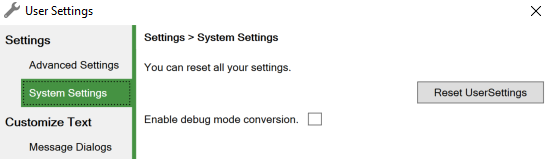Screenshot of the System Settings tab of the User Settings