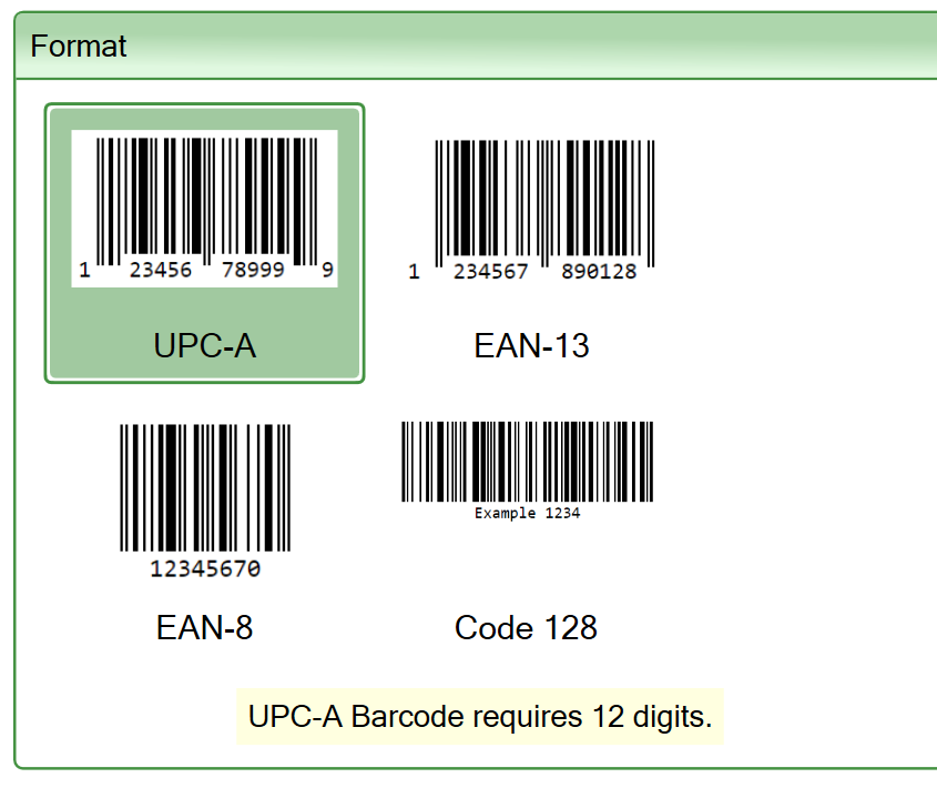 Screenshot of the format settings for the Barcode widget