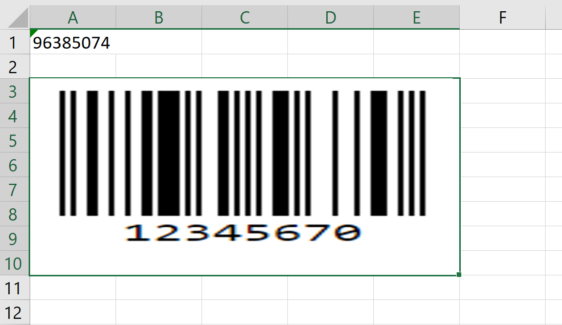 Screenshot of a spreadsheet in Excel with a barcode widget showing its placeholder