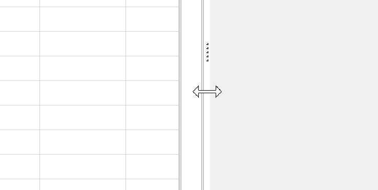 Screenshot of how to adjust the width of the task pane using the vertical separator