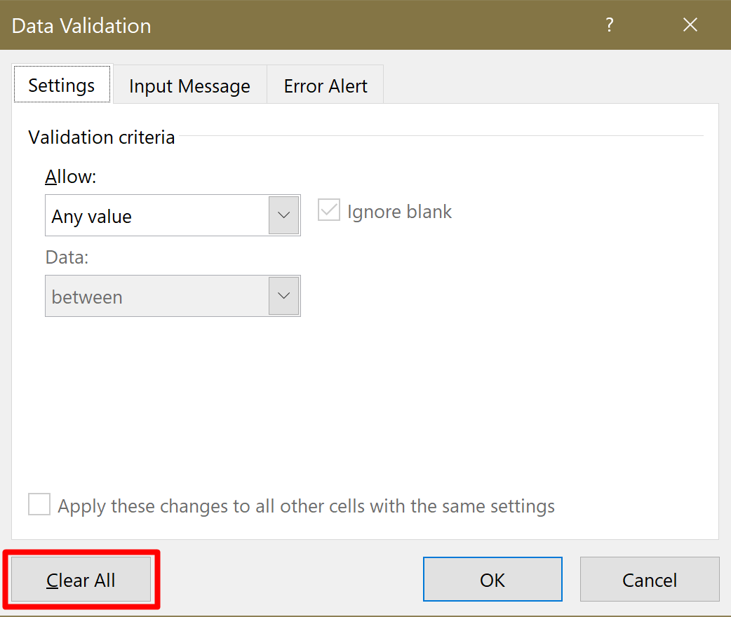Screenshot of the Data Validation settings with the Clear All button