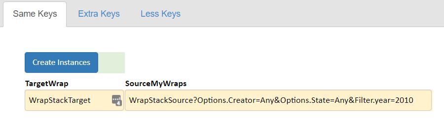 Screenshot of the Create Instances button created by a WrapStack widget