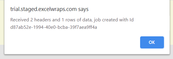 Screenshot of the wrap job tracking id returned when you press Create Instances