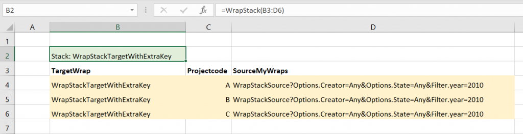 Screenshot of a WrapStack function call with an extra Unique Key for the Target wrap