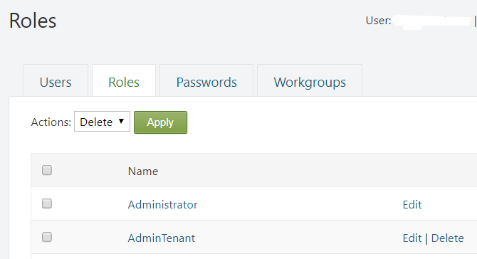 Screenshot of the Roles tab on the Users page for a wrapsite