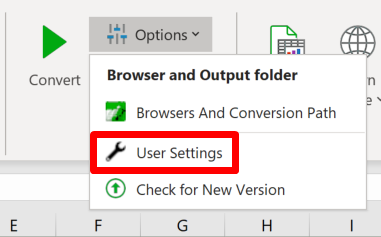 Screenshot of the User settings shortcut in the Options menu in the Convert section of the ribbon