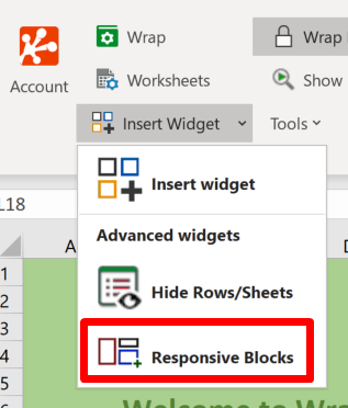 Screenshot of the Responsive Blocks option in the Prepare section of the WrapCreator ribbon