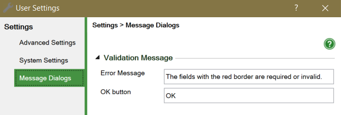 Screenshot of the Message Dialogs setting for WrapCreator