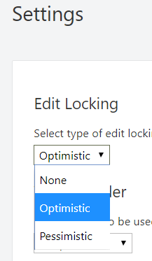 Screenshot of the Lock Type setting in the Wrapsite settings