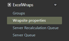 Screenshot of the Wrapsite Properties shortcut in the ExcelWraps section of the Administration dashboard