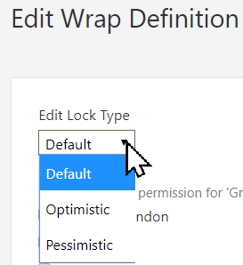 Screenshot of the Lock type setting for a Wrap