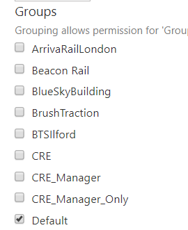 Screenshot of the Wrapgroups list for a Wrap