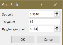 Screenshot of the Goal Seek prompt asking for the result cell, the goal value and the cell to seek with