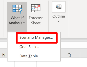 Screenshot of the Scenario Manager shortcut in the Forecasts group in the Data section of the ribbon