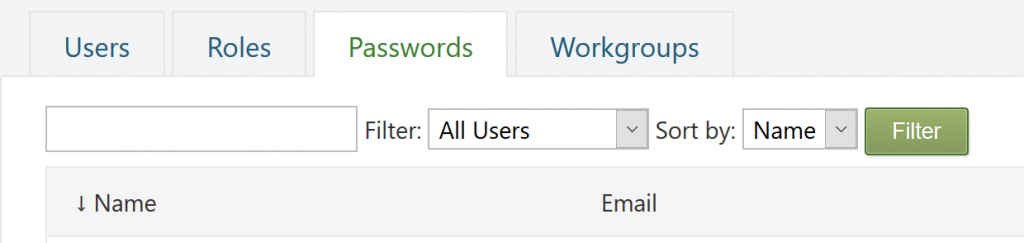 Screenshot of the Passwords page on the Administration dashboard