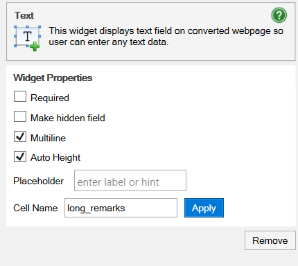 Screenshot of the Text widget in WrapCreator