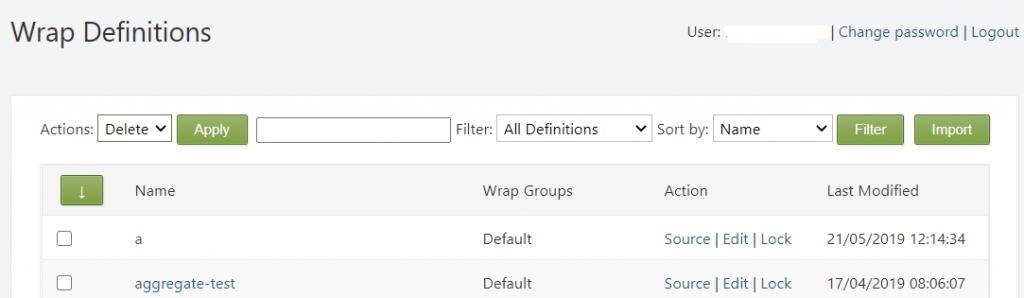 Screenshot of the Wrap Definitions on the ExcelWraps tab of the Administration dashboard