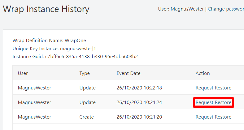 Screenshot of the Wrap Instance History page for an instance