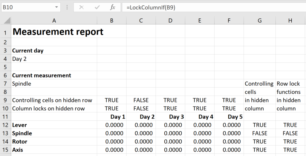 Screenshot of a spreadsheet with a LockColumnIf function call