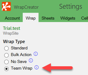 Screenshot of the TeamWraps setting on the Wrap tab in WrapCreator