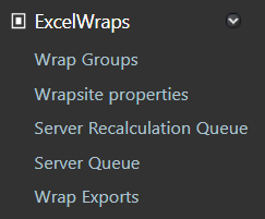 Screenshot of the ExcelWraps group in the ExcelWraps administrative dashboard