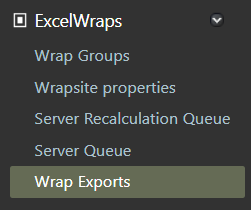 Screenshot of the Wrap Exports selection in the left-hand sidebar of the ExcelWraps Administration dashboard