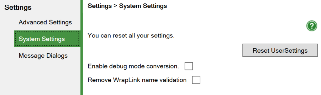 Screenshot of the System Settings window